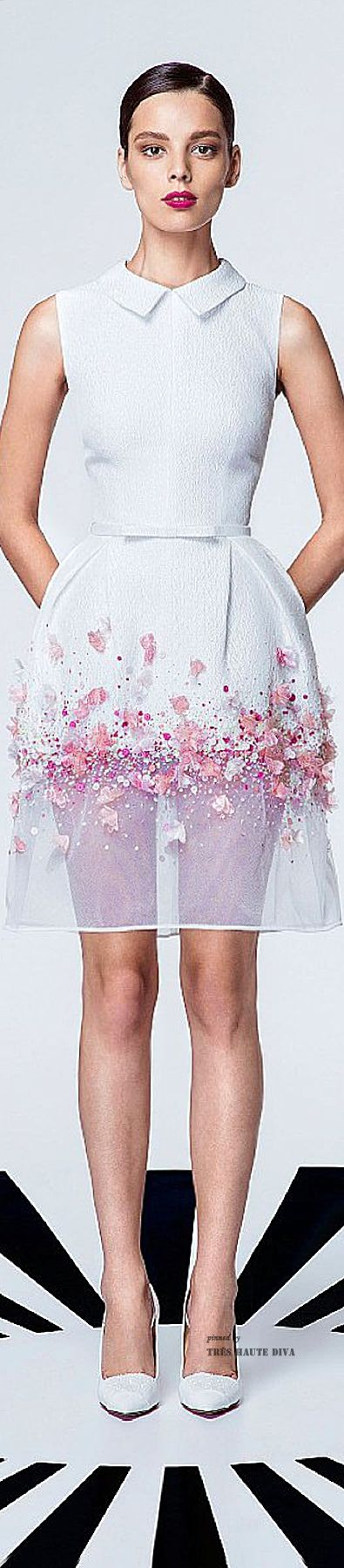 Georges Hobeika Spring - Summer 2015 White and Pink Cocktail Dress - so sweet & adorable. Cocktail dress? Mmm, I'd wear it to a Sunday brunch.Wear some white spanx (bicycle shorts style), and you'll be going back for seconds to chat up that cute guy who smiled at you.