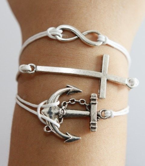 Anchor, cross, infinity silver bracelet $4.66, via Etsy. (all one bracelet, they connect at the clasp.) I want this!