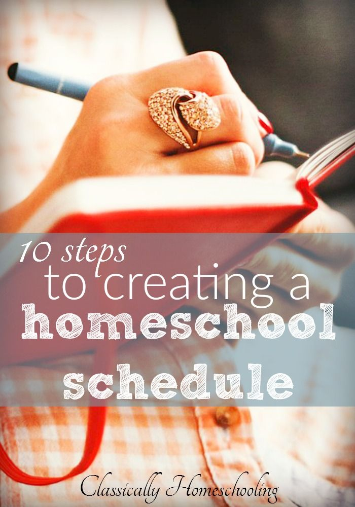 Do you know how to create a homeschool schedule that works? If not, here are 10 steps to creating a homeschool schedule which fits your family's needs.