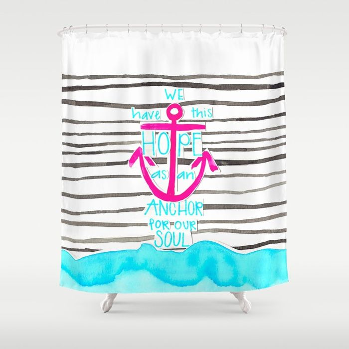 We Have This HOPE - Anchor (pink/blue) Shower Curtain