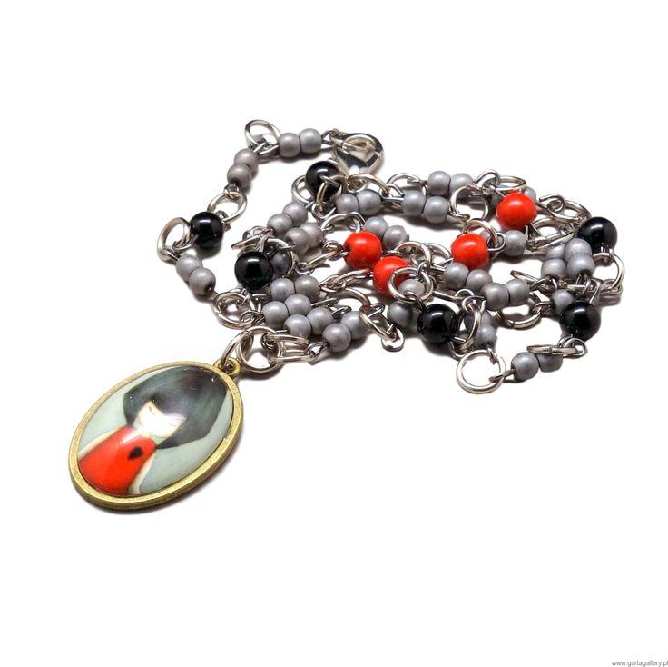Naszyjnik z Medalionem Dziewczyna w Czerwieni Naszyjniki Medaliony