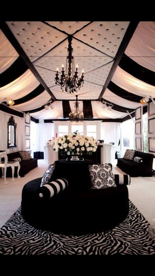 Create A Lounge Area At The Reception Black White Wedding Decor Via Diann Valentine