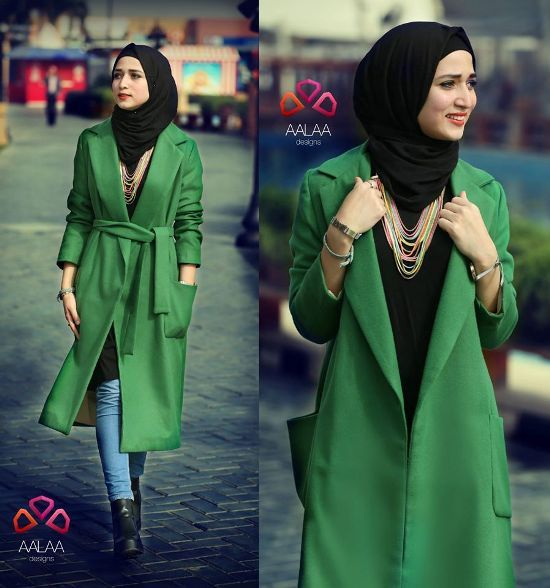green trench coat hijab style, Aalaa designs winter collection http://www.justtrendygirls.com/aalaa-designs-winter-collection/