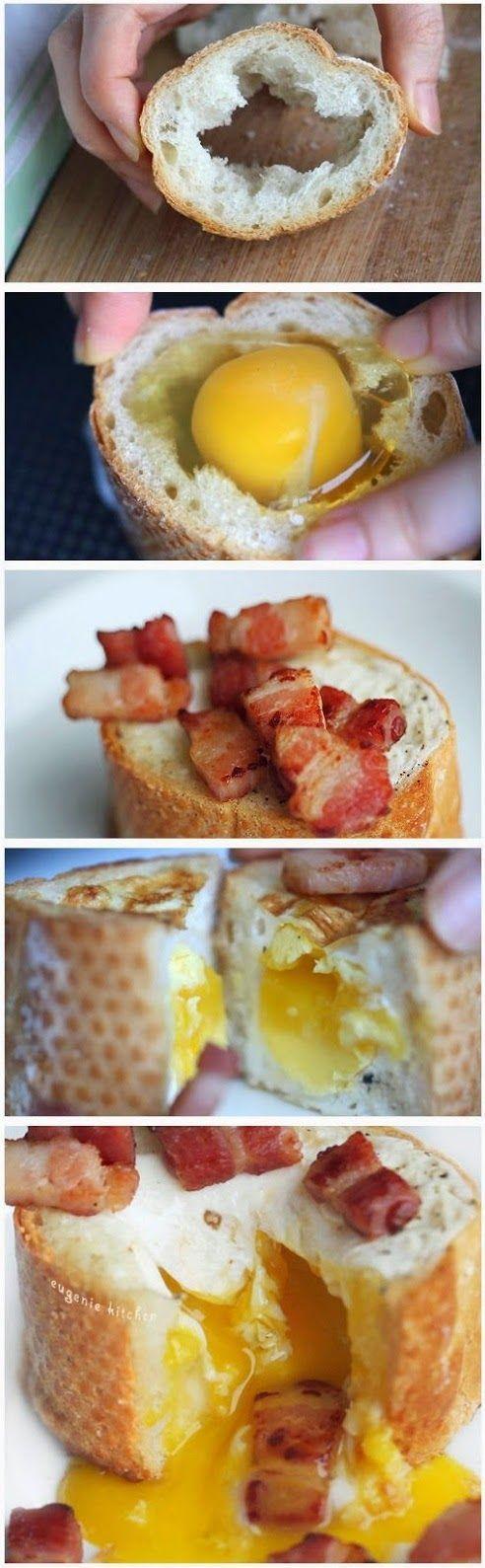 Egg Bacon Baguette Breakfast Recipe