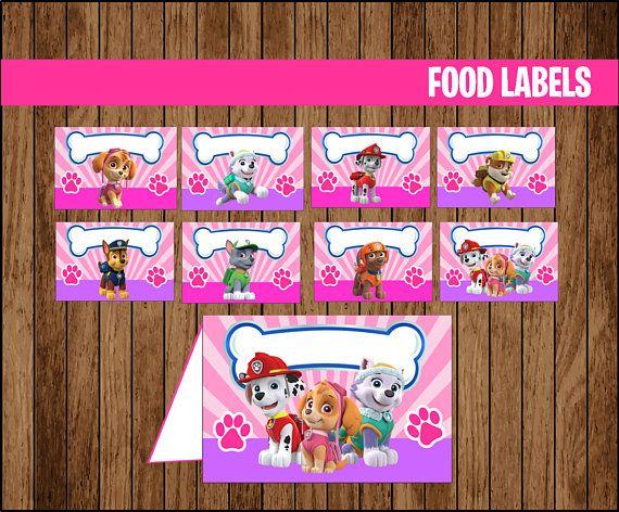 Pink Paw Patrol Food Labels Printable Girl Paw Patrol Food