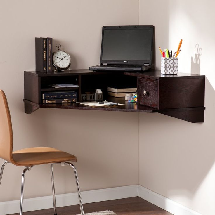 Work smarter with this transitional wall mount floating desk in any, or every, room in your home. Three shelves and a drawer organize accessories, loose papers, and small electronics; broad laptop desk or workspace makes tasks a little easier. Unique corner-hugging silhouette and small profile fit into the smallest of spaces, while rich espresso hue is versatile for any space. Corner your small space home office concerns once and for all, with this wall mount desk.