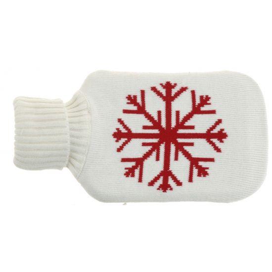 Witte kruik met sneeuwvlok  Witte kruik met sneeuwvlok. Deze kruik is gemaakt van rubber en heeft een witte stoffen hoes met een rode sneeuwvlok. Inhoud: 175 liter. Afmeting: 33 x 19 cm.  EUR 11.99  Meer informatie