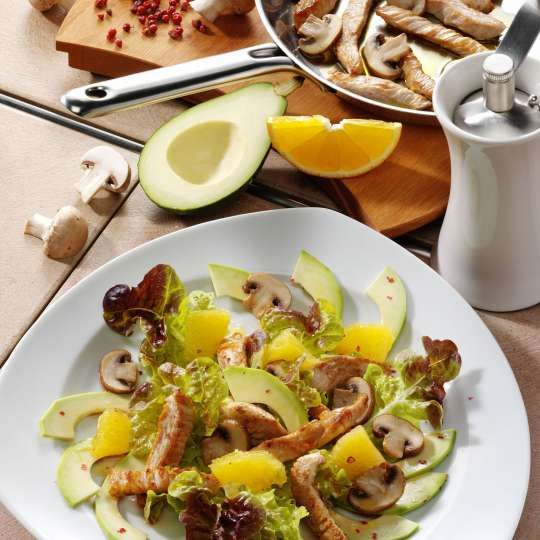 Pilzsalat mit Putenbrust