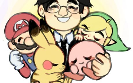 Iwata, Toon Link, Mario, Kirby and Pikachu.