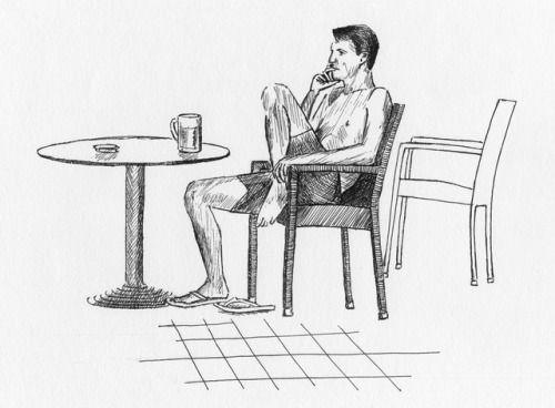 September 16, 2017. Sketches from summer I: Beer philosohper. Croatia. Gel pen.