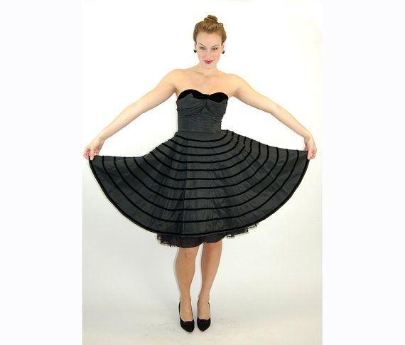 1950s strapless dress black taffeta and velvet by vintagerunway