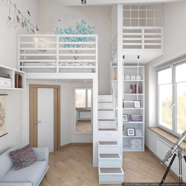 una habitacin juvenil de altura