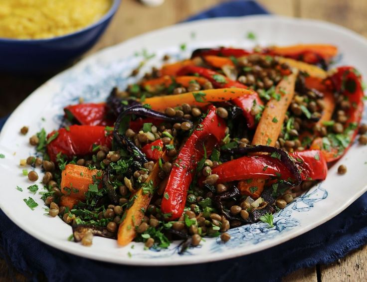 Warm roast carrot and lentil salad