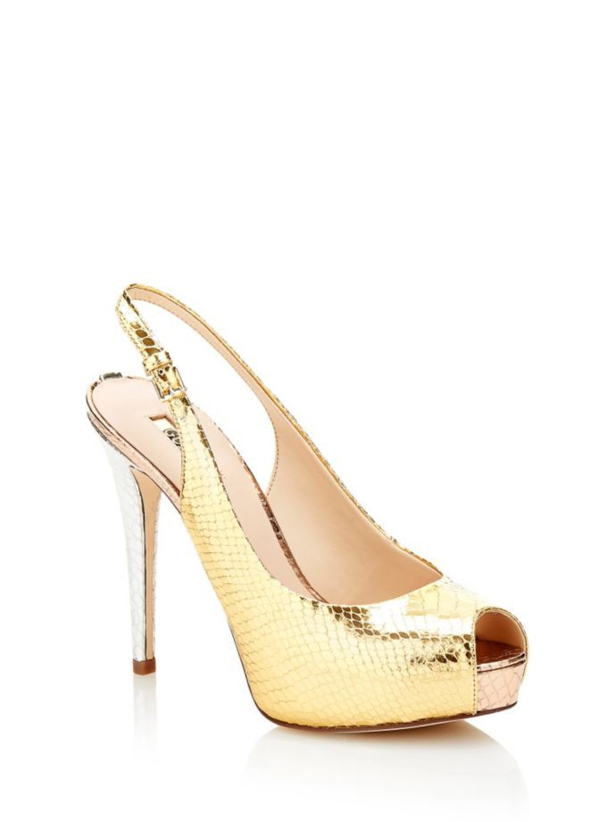 EUR135.00$  Buy now - http://vicdk.justgood.pw/vig/item.php?t=fpfaohm3053 - HUELE GOLD PEEP-TOE COURT SHOE EUR135.00$