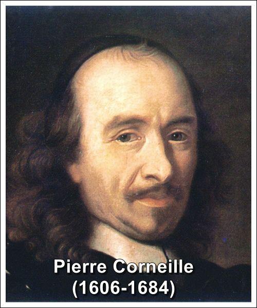 Pierre Corneille byl francouzský dramatik. Narodil se 6. června 1606 v Rouenu v právnické rodině a zemřel 1. října 1684 v Paříži. Po vzoru své rodiny i on se rozhodl pro právnickou kariéru. Vystudoval tedy práva a po absolvování pracoval jako obhájce u rouenského soudu, později si dokonce zakoupil úřad královského advokáta. Hlavně se však věnoval spisovatelské činnosti - napsal 33 her, ke kterým připojil i rozsáhlý komentář.
