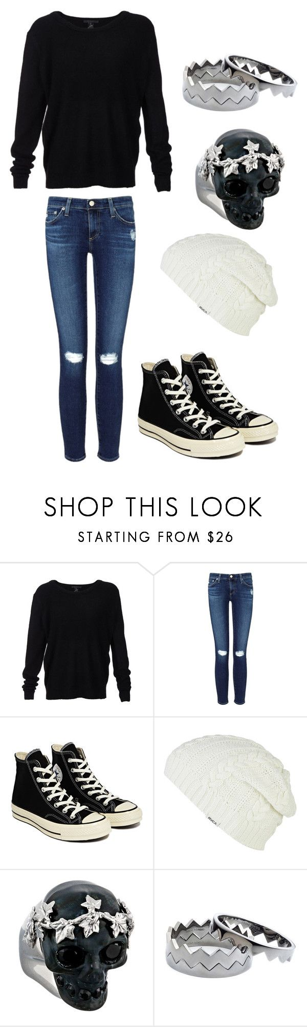 """""""Dani 12"""" by icanseethestarsagain ❤ liked on Polyvore featuring Scoop, AG Adriano Goldschmied, Converse, RVCA, Alexander McQueen and Eddie Borgo"""