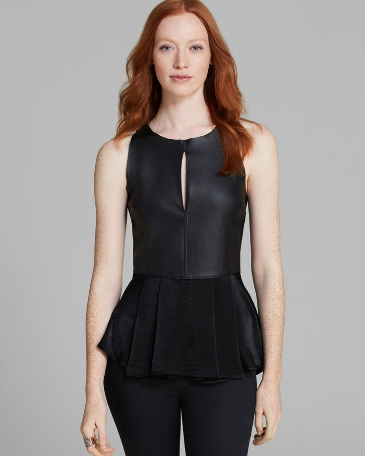 PJK Patterson J. Kincaid Tank - Lalin Leather Peplum | Bloomingdale's