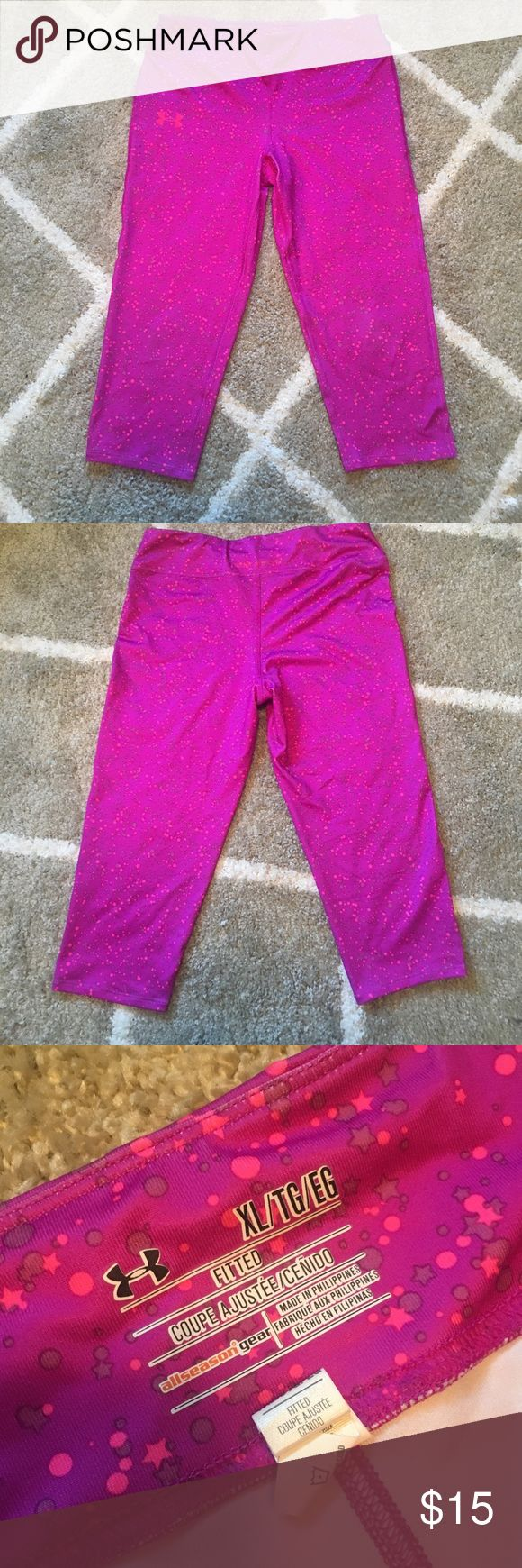 Under Armor Capri leggings Purple with neon pink stars.  Capri length. Worn once and like new condition. Under Armour Pants Track Pants & Joggers