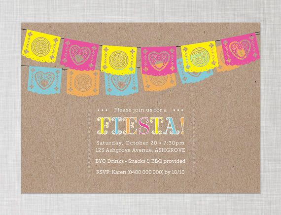 Printable Papel Picado - Mexican Flags - Fiesta Invitation with Kraft / Brown Paper background