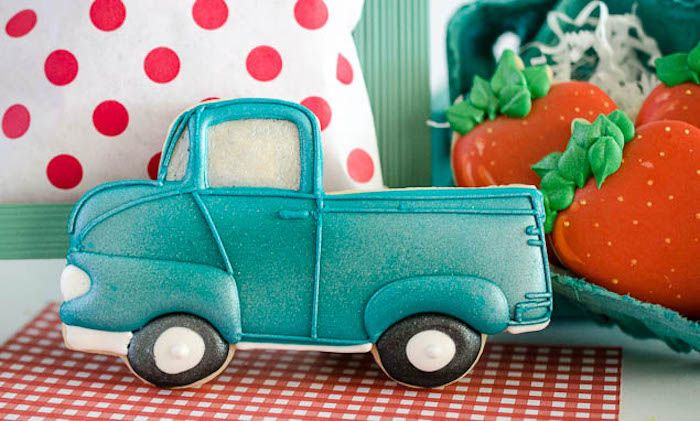 Vintage truck cookie from Vintage Farmer's Market Birthday Party at Kara's Party…