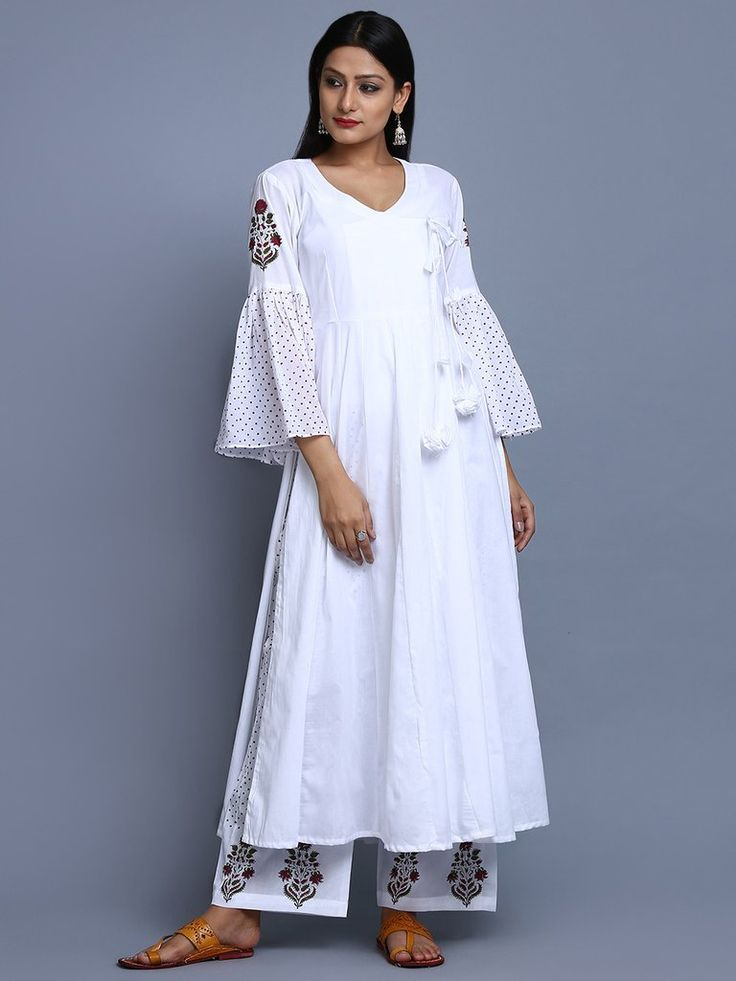 White Cotton Hand Block Printed Angrakha Kurta