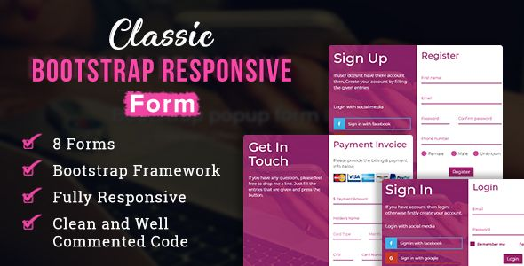 Classic Bootstrap Responsive Form Login Form Form Css Subscribe Form