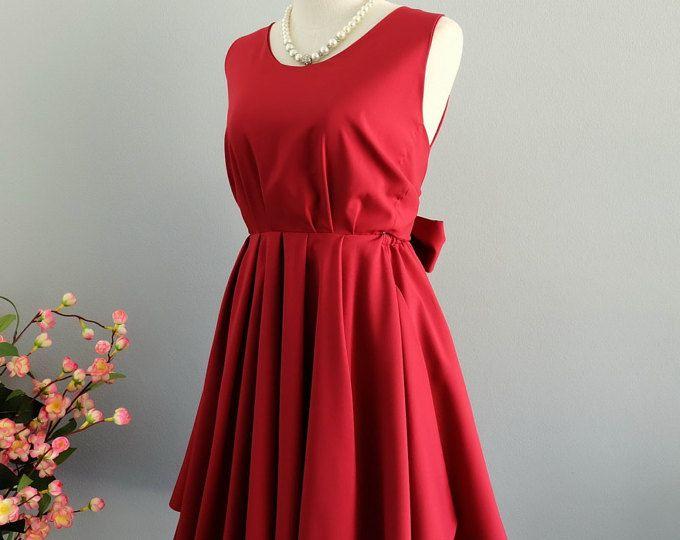 Robe rouge sang rouge robe rouge parti robe de bal rouge foncé robe noeud au dos robe rouge de demoiselle d'honneur robes robe dos nu rouge foncé