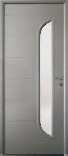 Porte aluminium, Porte entree, Bel'm, Contemporaine, Poignee rosace gris deco bel'm, Mi-vitre, Double vitrage sable, Nautica