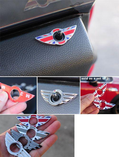 Forget energy drinks... MINIs give you wings! Wings Door Lock Badges $16.95…