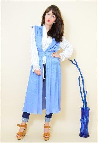 Vintage+70s+light+blue+pleated+sleeveless+duster+