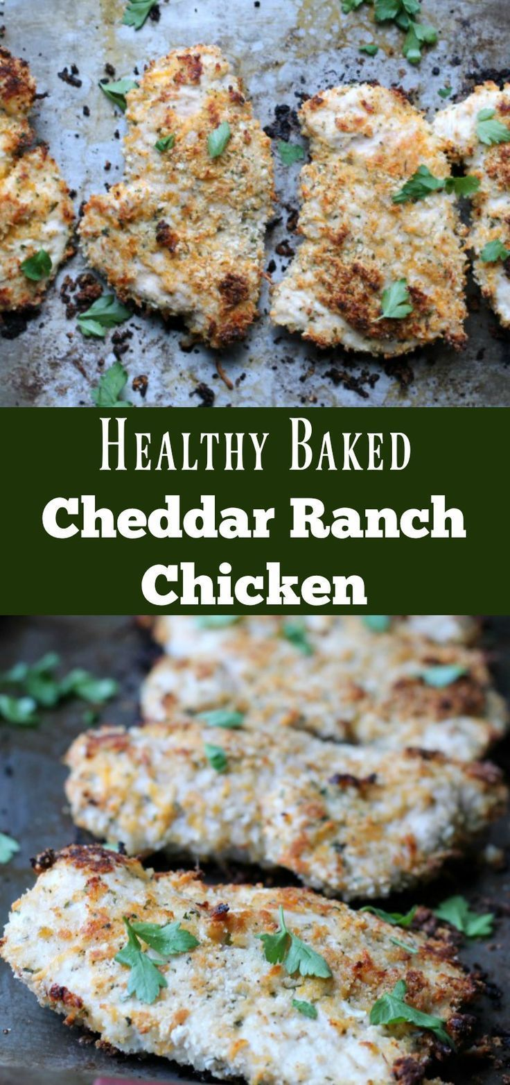 Healthy baked Cheddar Ranch Chicken Recipe. Low carb high protein make-ahead dinner recipe.