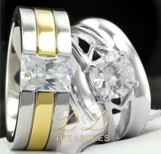 3 Pcs His Hers Womens Engagement Stainless Steel Mens Wedding Bridal Rings Set Starting