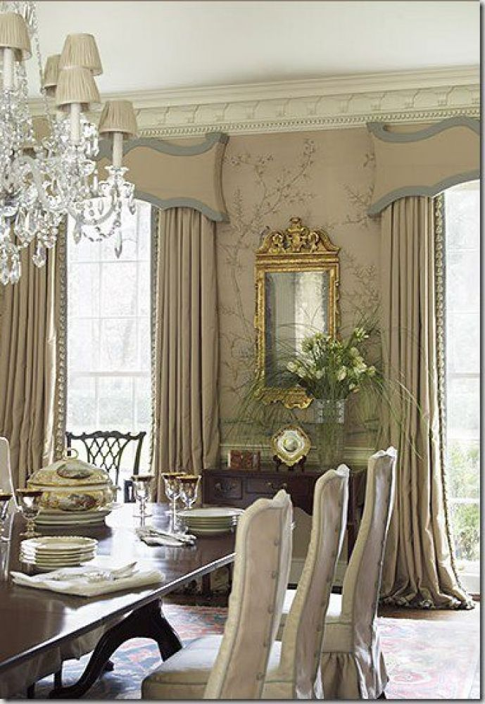 Ornate Curtain Pelmets With Dramatic Drapes Wallpaper Crown Moulding Long Table For 8 Elegant Dining RoomFormal