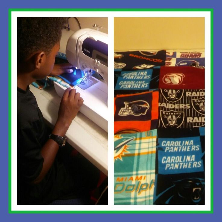 Teaching the grandson to sew! He is creating a sports blanket!
