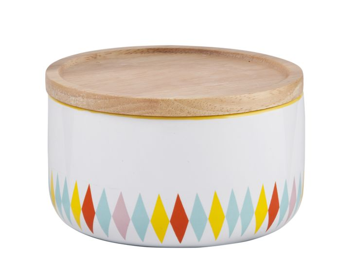 General Eclectic Kitchen Storage- Wide Canisters- Diamonds. Add colour and functionality to your kitchen storage with these gorgeous wide-mouthed ceramic canisters with wooden lids from General Eclectic.