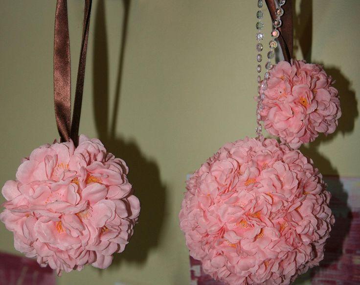 Set Of 3 Pink Cherry Blossom Wedding Bouquet Flower Balls Custom Ribbon Color 1 Artesanato