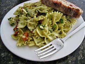 ~la Madeleine's Bowtie Pasta Salad~ 16 oz. bowtie pasta 8 Tbsp. pesto 1/2 Cup sun dried tomatoes, diced 1/2 Cup Ro...