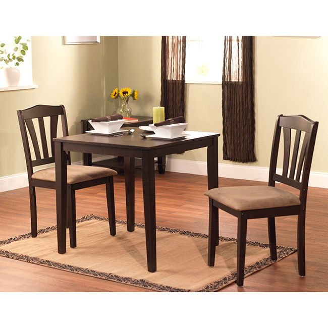 Enhance your home decor with a three-piece dining set. Furniture features rubber wood construction. This beautiful set is perfect for areas with limited space.