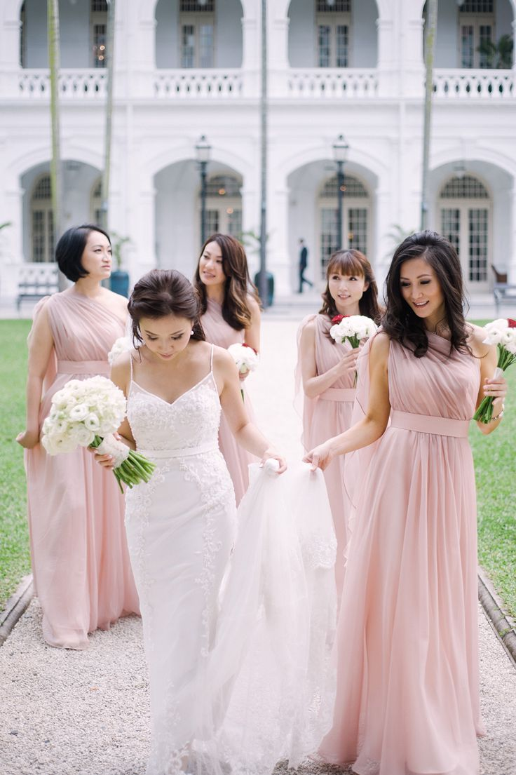 Bride and bridesmaids in pink gowns kane and vickys travel bride and bridesmaids in pink gowns kane and vickys travel themed garden wedding at tamarind hill singapore bridesmaids pinterest wedding and ombrellifo Gallery