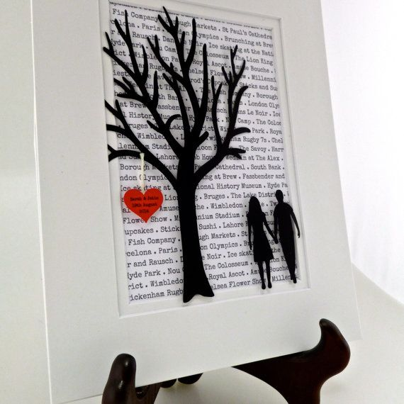 Personalized Wedding or Anniversary Gift Tree - Long Distance Relationship Gift -  3D Paper Art - Couples Art- Handmade Home Decor on Etsy, $25.00