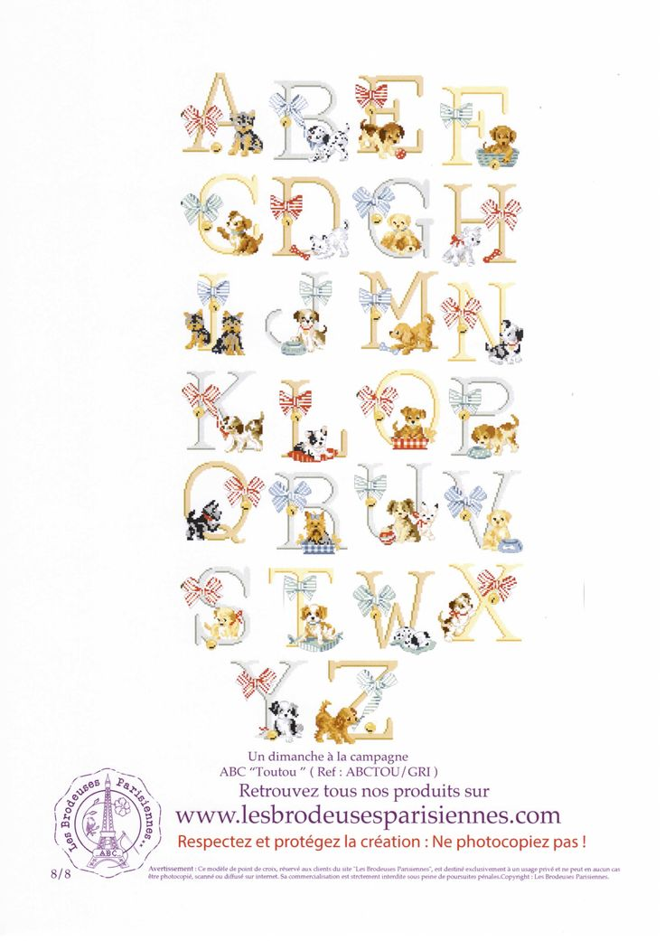 Cross stitch Les Brodeuses Parisiennes (LBP) - ABC Jolis Toutous) 8/8 (ABC Pretty Doggies)