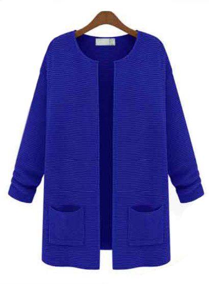 Cardigan à col rond et poche-Bleu royal