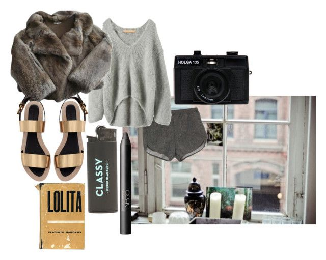 """""""Lux"""" by sophie-lawrence ❤ liked on Polyvore featuring American Apparel, Iliann Loeb, Zara, Holga and NARS Cosmetics"""