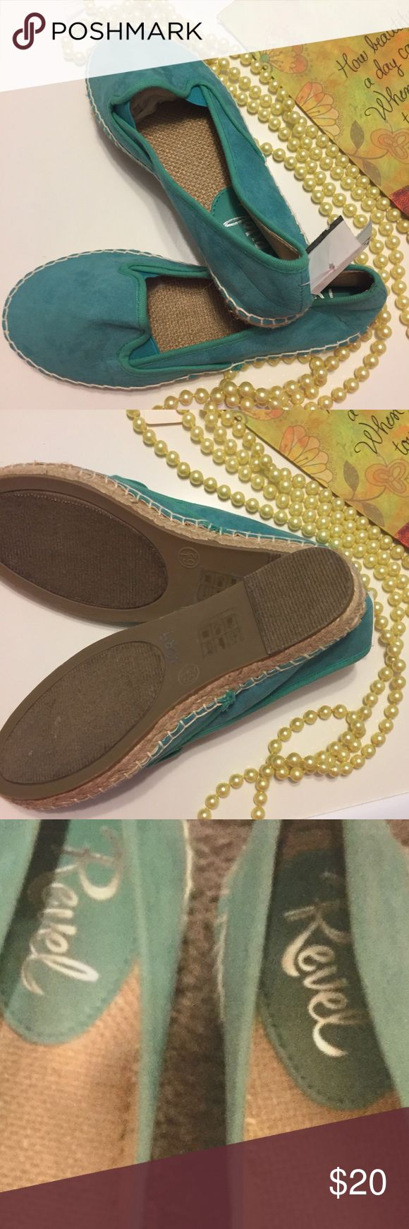 💥NWT Excellent Espadrilles Flats Seafoom Green 💎New with Tags Beautiful Pair of Ladies Espadrilles Flats. Size 6.5M. Stunning Smooth Suede Seafoom Blue/Green Exterior with Traditional Espadrille Style Cream Stitched Comfortable Canvas Interior. Wonderfully stylish slip-ons at an awesome bargain! (Retail $50 plus tax). 😊No-Smoking Home 👍Great Posh Customer Feedback 📦Fast Shipping! ❤️Posh Ambassador! Shop with Confidence @jhp511 🌠🌠🌠🌠🌠 Revel Shoes Espadrilles