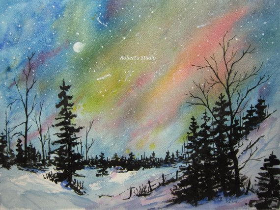 Winter Landscape archival print, Northern Lights watercolor painting, night sky painting, winter landscape painting, nature scenic print.