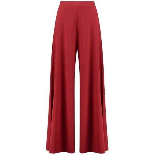 Boohoo Naeve Extreme Wide Leg Trousers found on Polyvore featuring pants, sports pants, palazzo trousers, red trousers, tailored pants and sports trousers