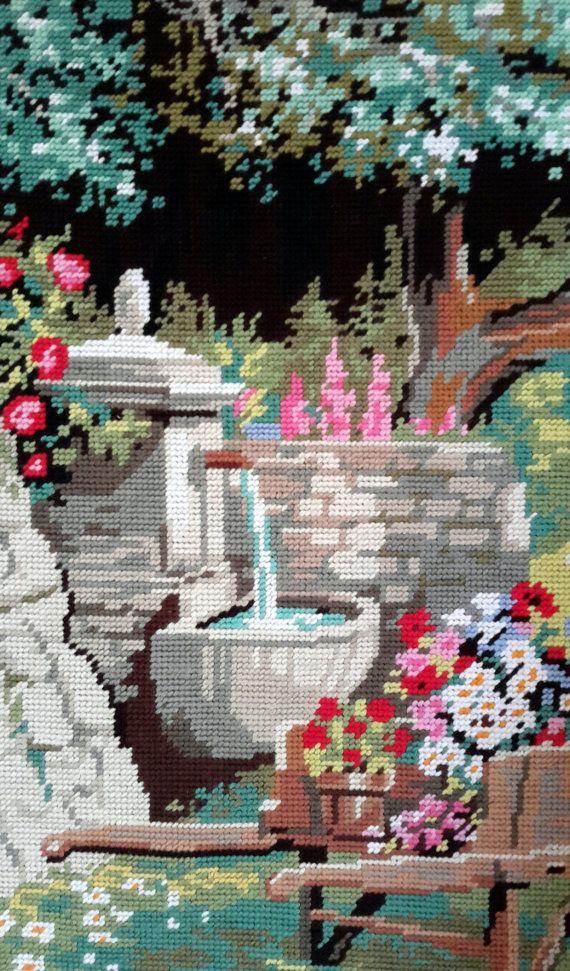 Au fond du jardin giardino scena-annata mano cucito