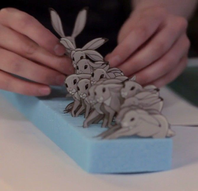 Elliot and Yves took the two most traditional and time-honoured animation processes – stop-motion and traditional hand-drawn 2D animation – and combined them to create something innovative and unique.  http://www.themethodcase.com/john-lewis-the-bear-the-hare-the-making-of/