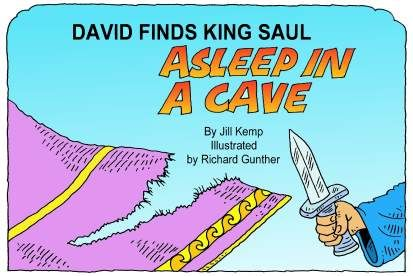 David vindt koning Saul slapend in een grot (zwart-wit)