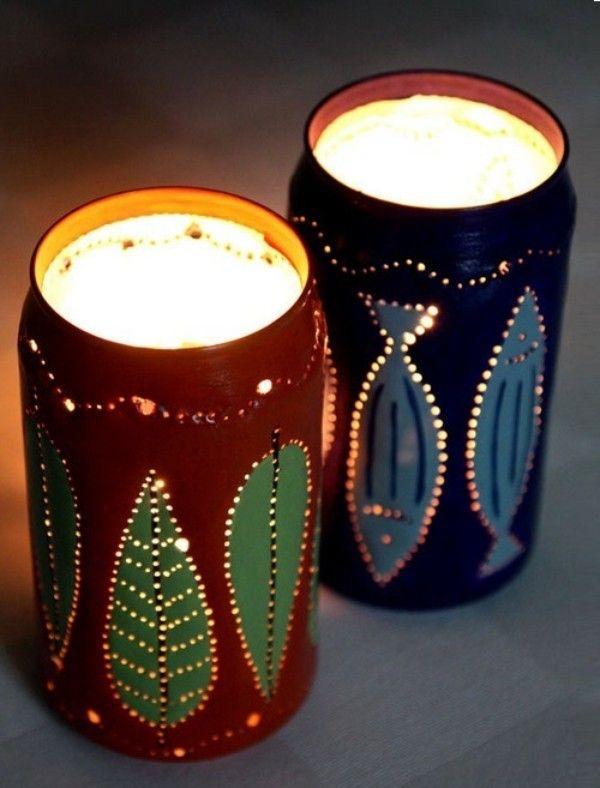 Riciclaggio lattine di birra in LAMPADE 1 candela